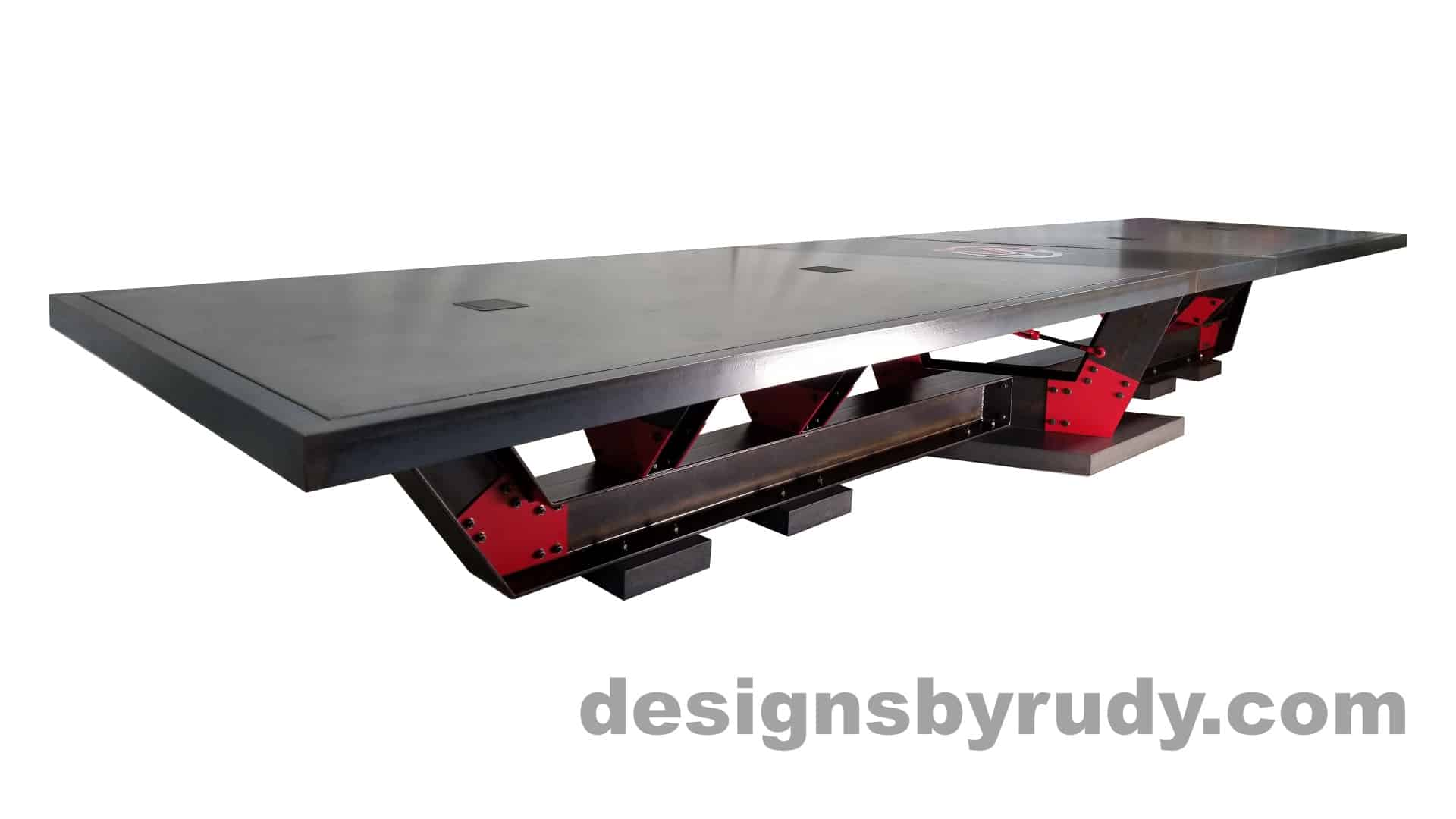 3 Steel and concrete conference table, design and fabrication by Designs by Rudy, angle 2 view