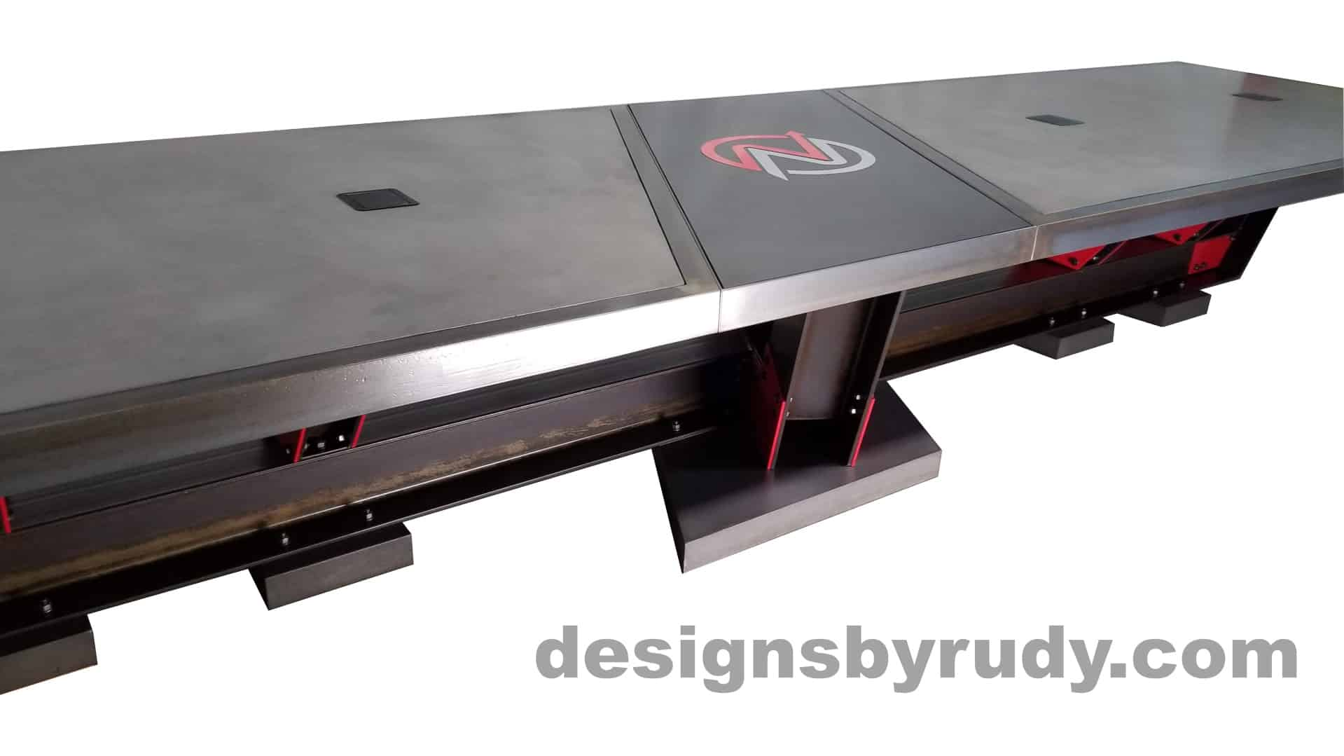 4 Steel and concrete conference table, design and fabrication by Designs by Rudy, front angle center closeup view