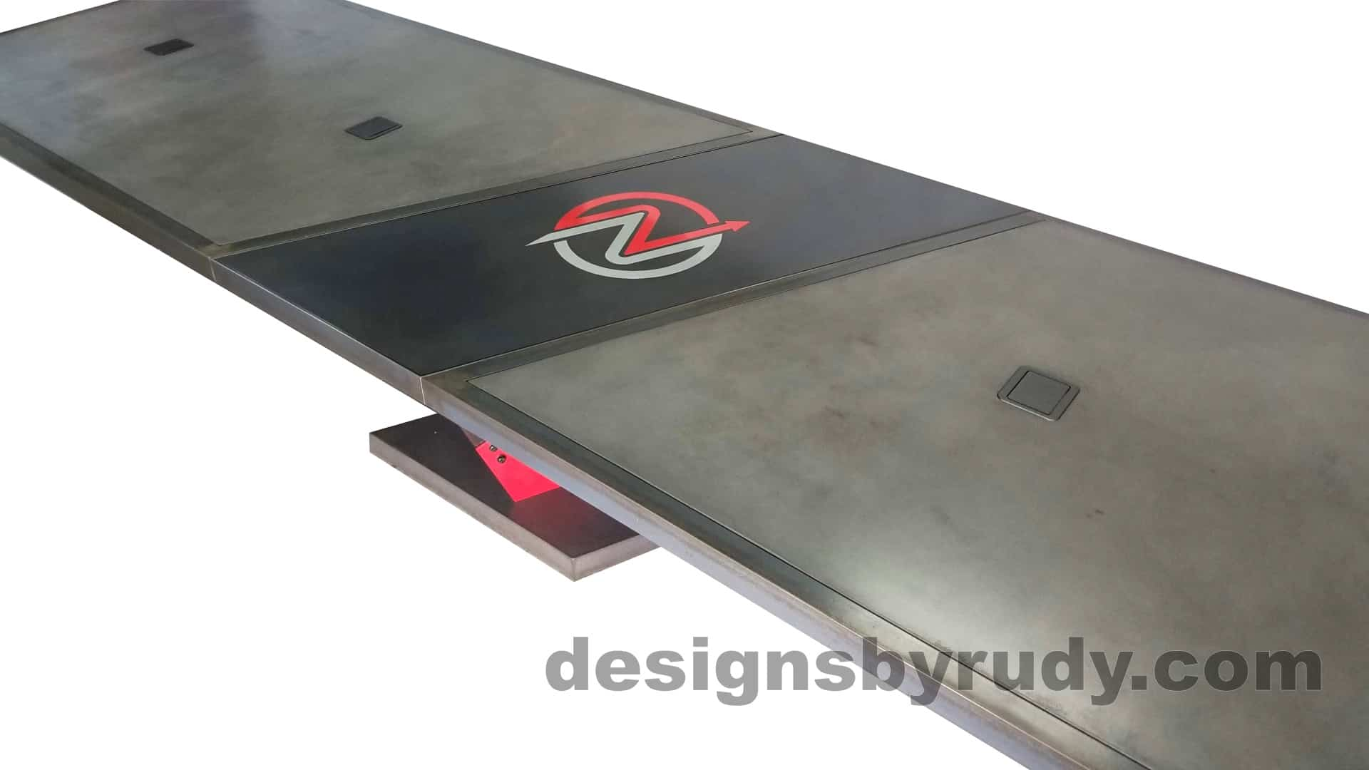 7 Steel and concrete conference table, design and fabrication by Designs by Rudy, top angle view