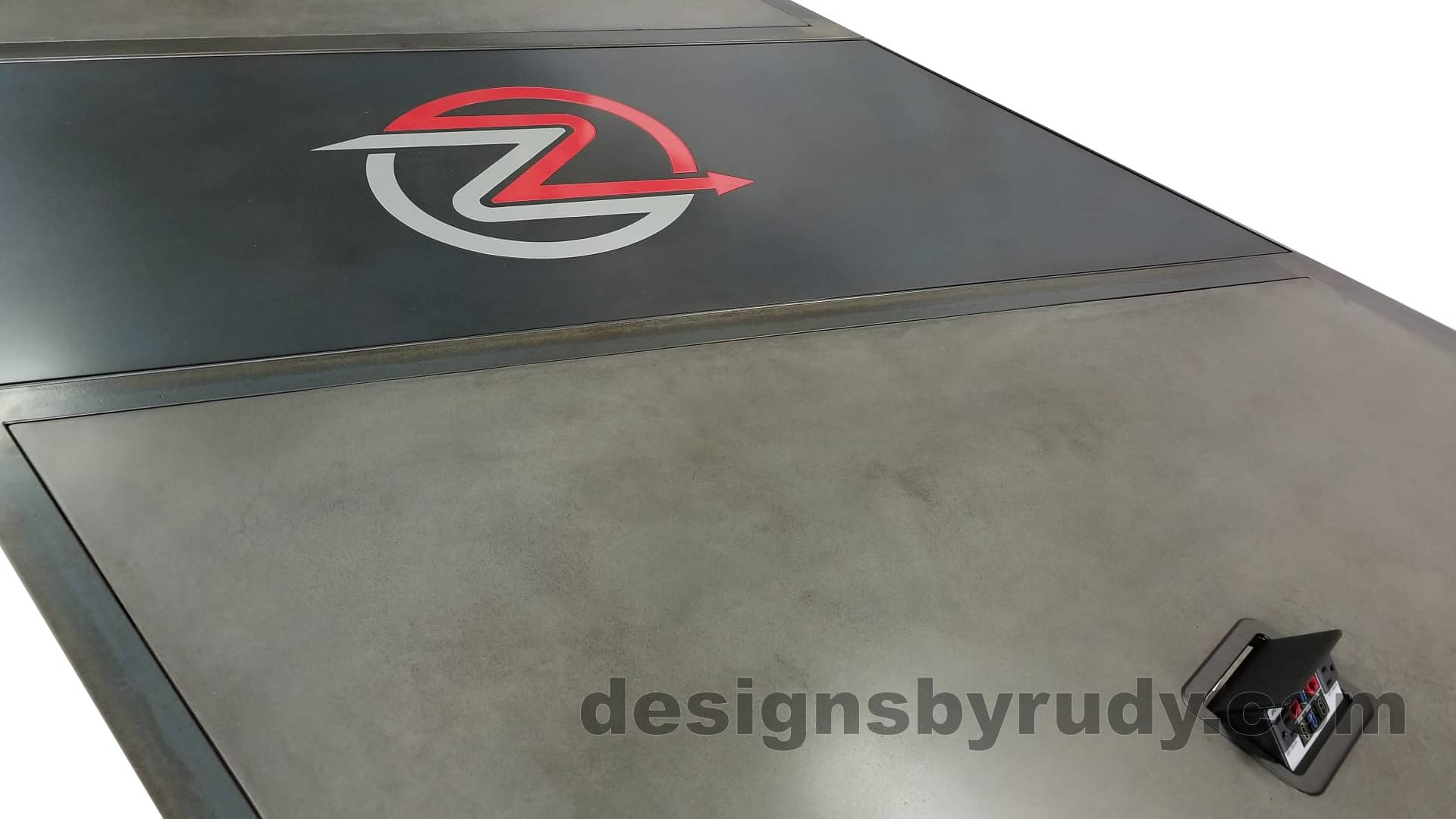 8 Steel and concrete conference table, design and fabrication by Designs by Rudy, low angle top view
