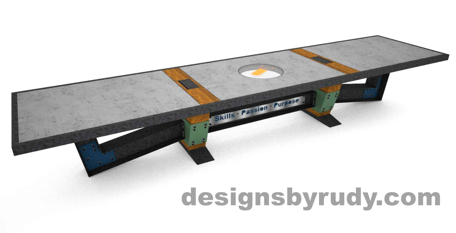 1 Concept concrete, steel, and wood conference table full top view