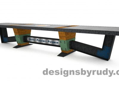 3 Concept concrete, steel, and wood conference table full top view