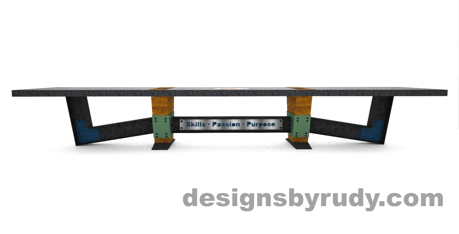 4 Concept concrete, steel, and wood conference table full top view