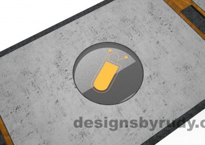 5 Concept concrete, steel, and wood conference table full top view