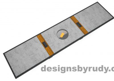 6 Concept concrete, steel, and wood conference table full top view