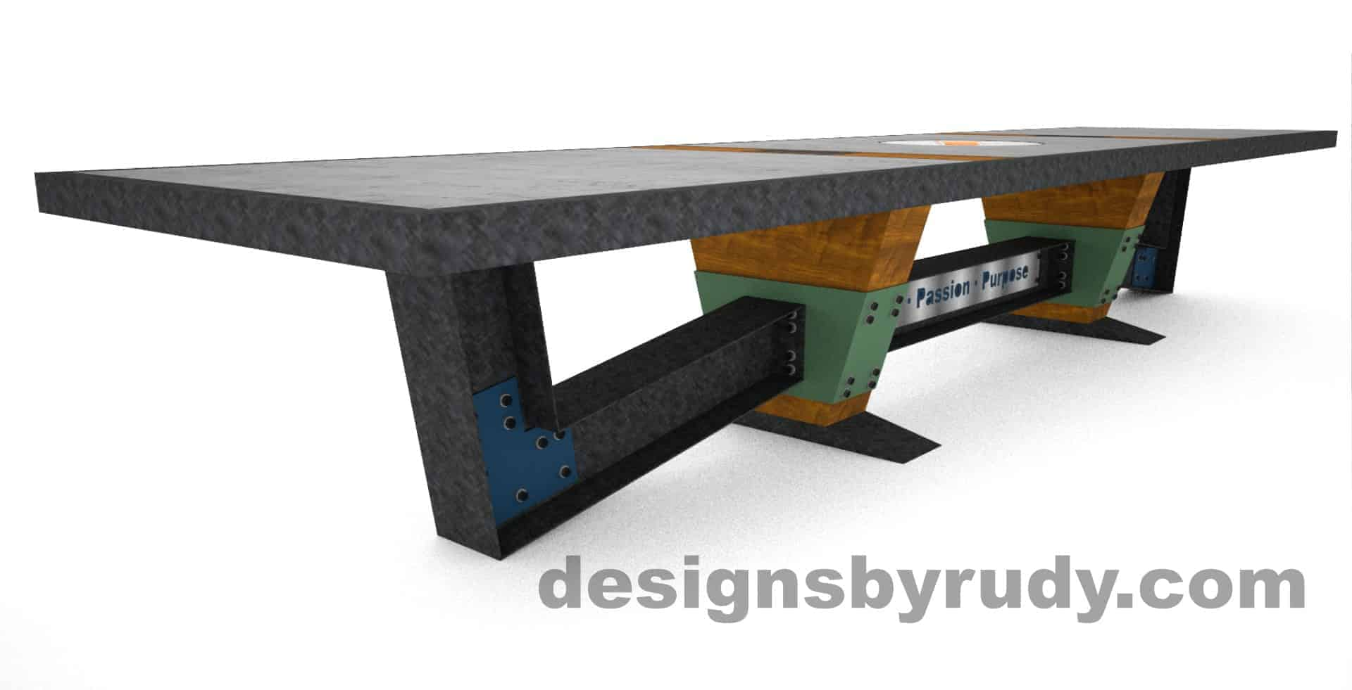 7 Concept concrete, steel, and wood conference table full top view