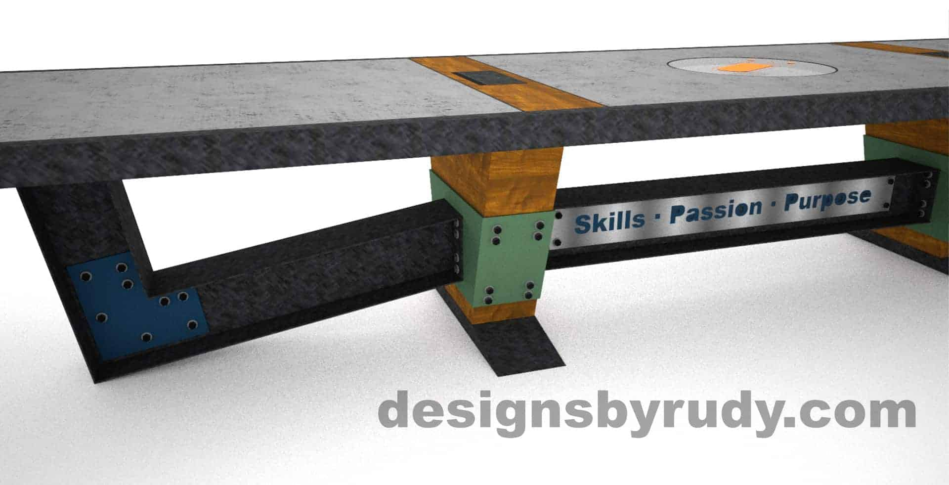 8 Concept concrete, steel, and wood conference table full top view