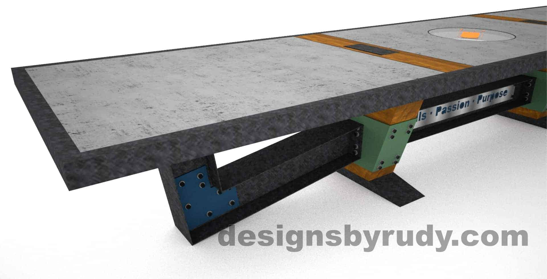 9 Concept concrete, steel, and wood conference table full top view