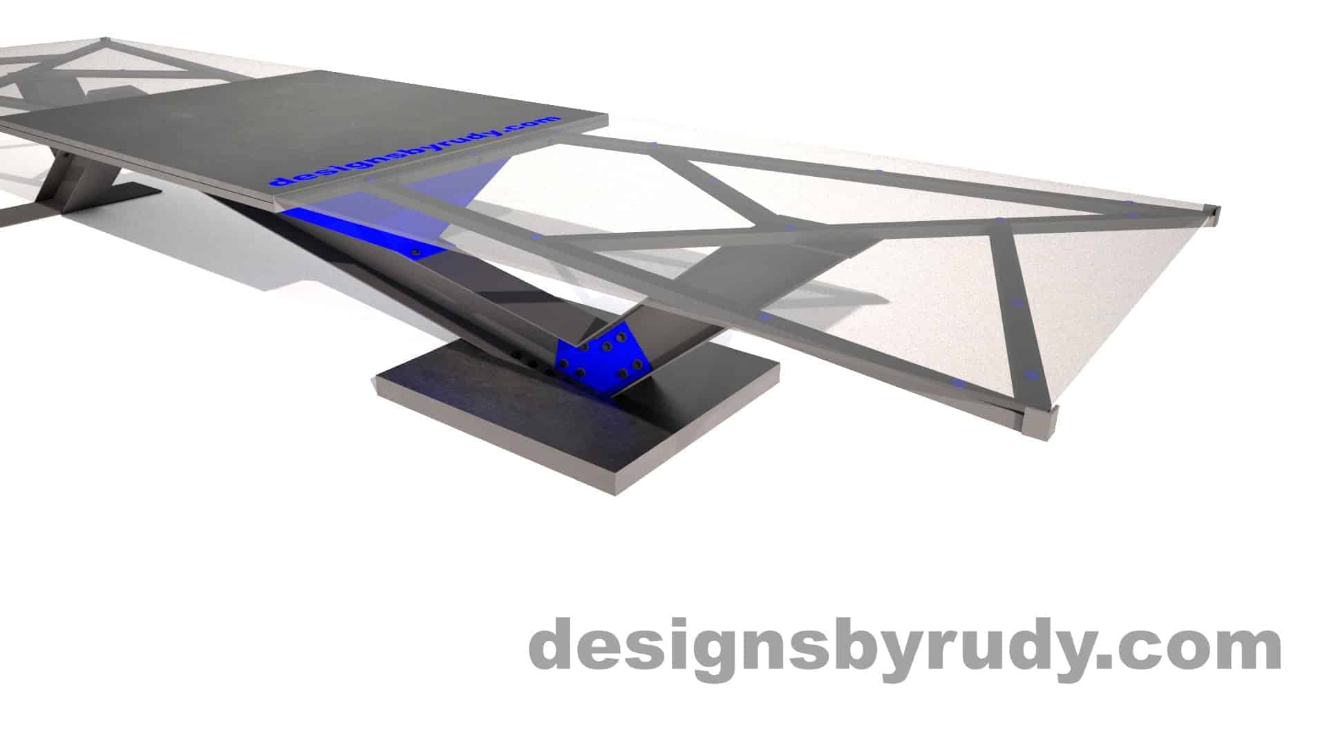 Glass, steel and concrete conference table design