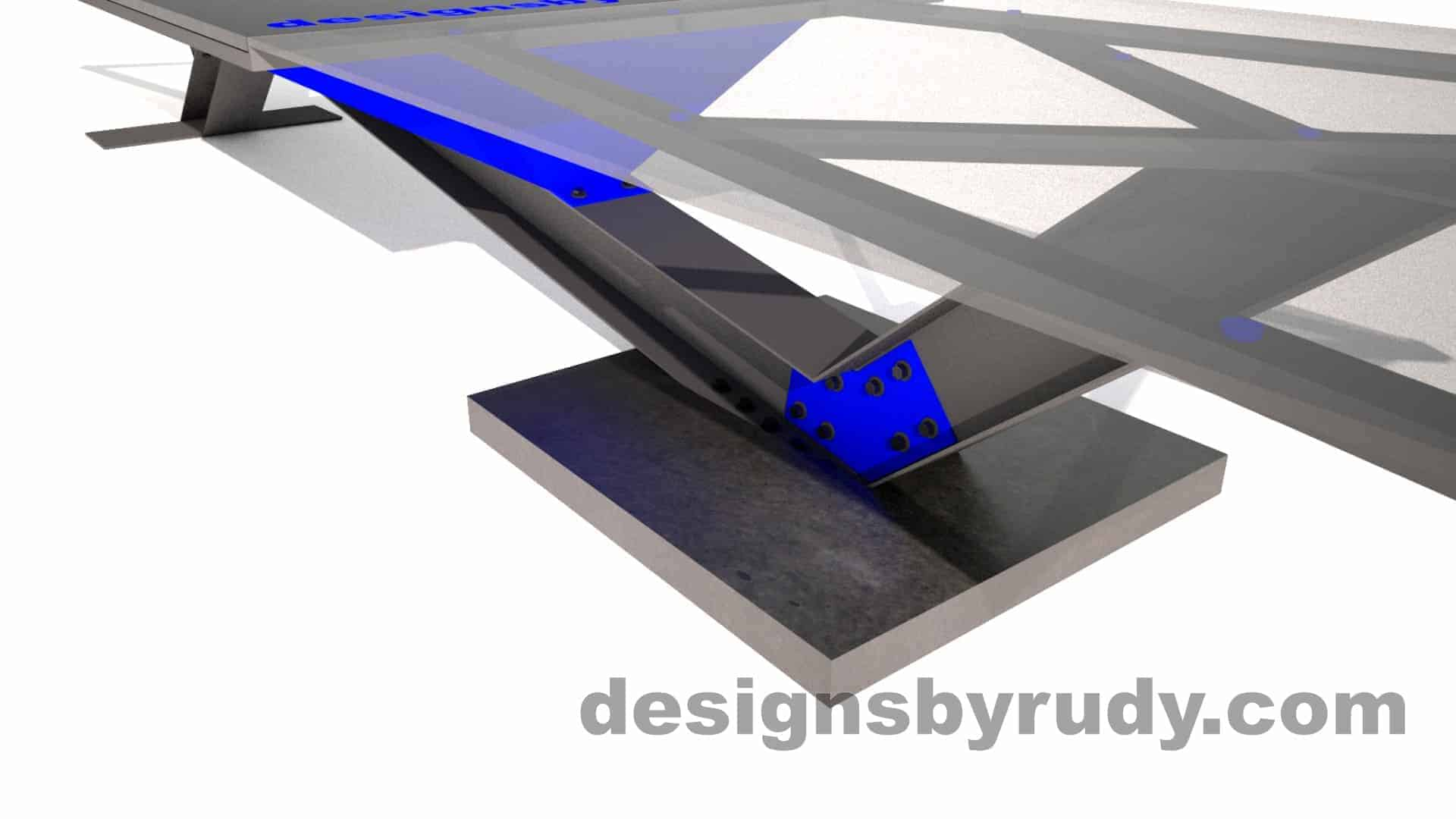 Concrete, steel, glass conference table modern design, concrete support slab closeup