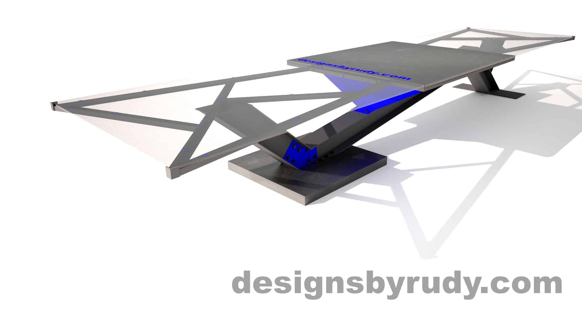 Concrete, steel, glass conference table modern design, full angle view side 2