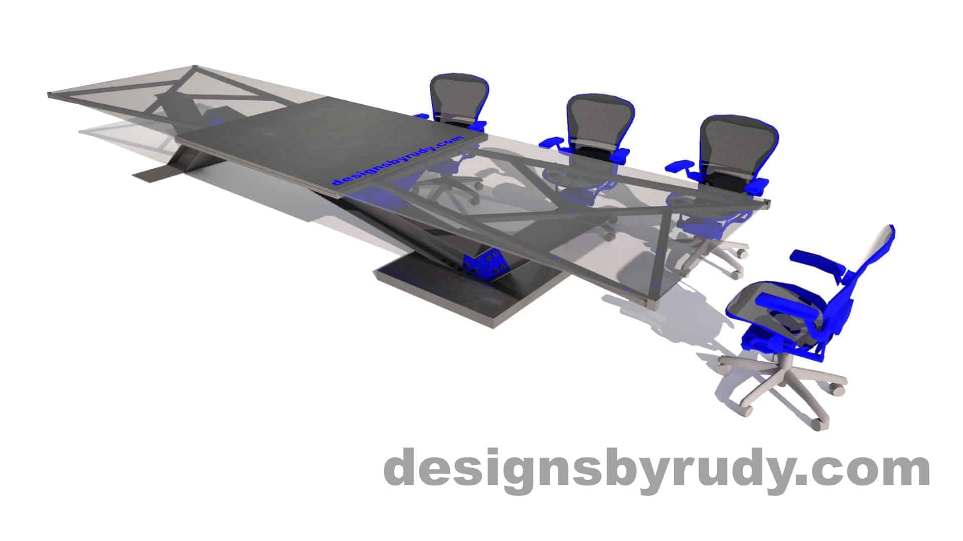 A conference table with I-Beam base, bolted to concrete block, concrete and glass top, Designs by Rudy