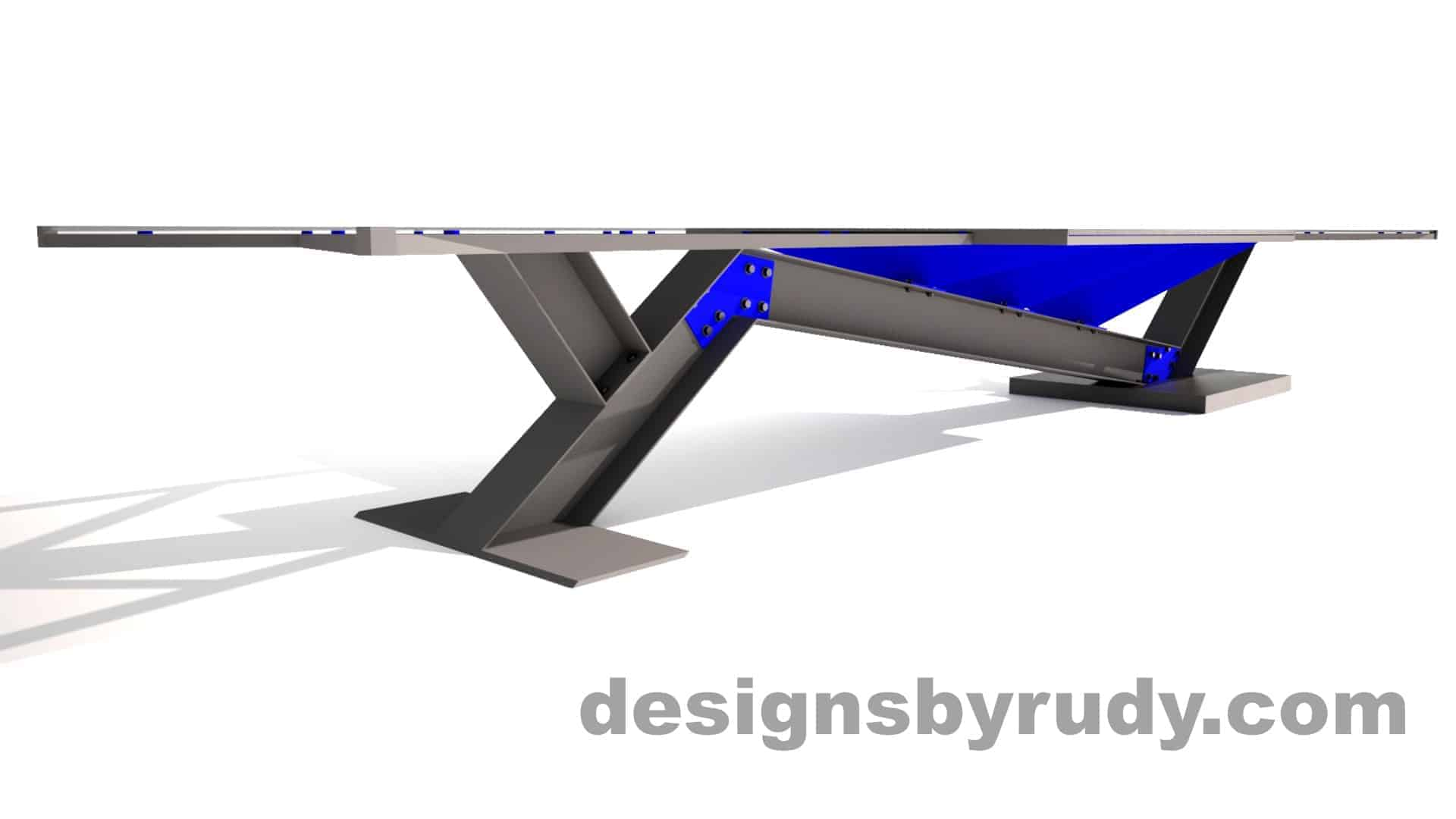Concrete, steel, glass conference table modern design, full side angle view side 2