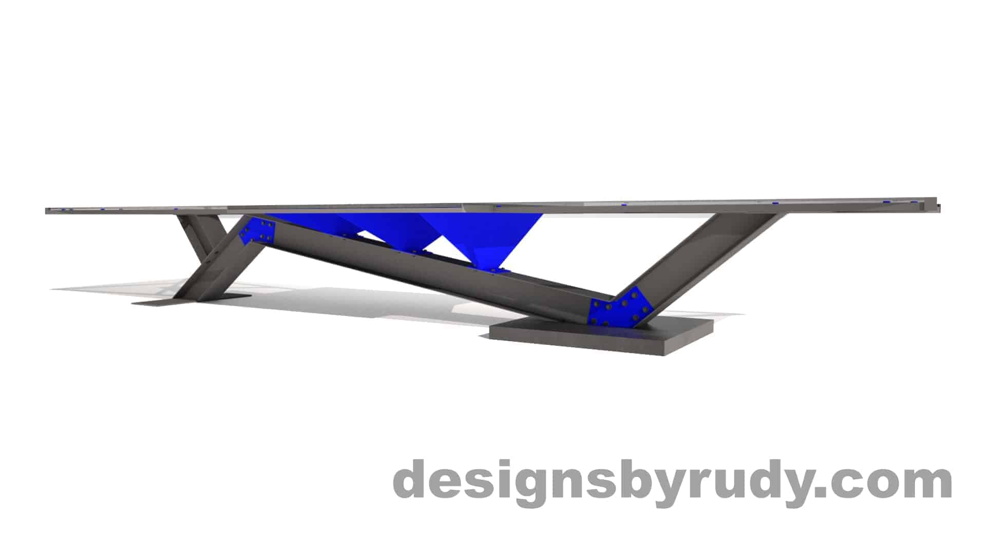 Concrete, steel, glass conference table modern design, full side angle view