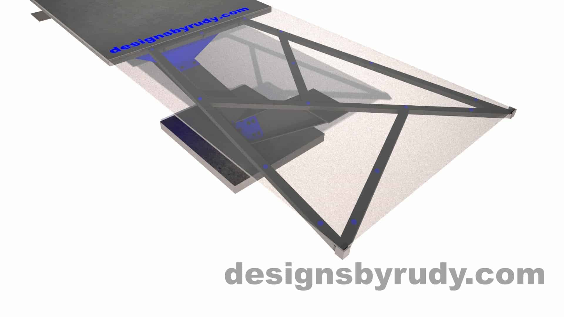 Concrete, steel, glass conference table modern design, partial angle view closeup 2