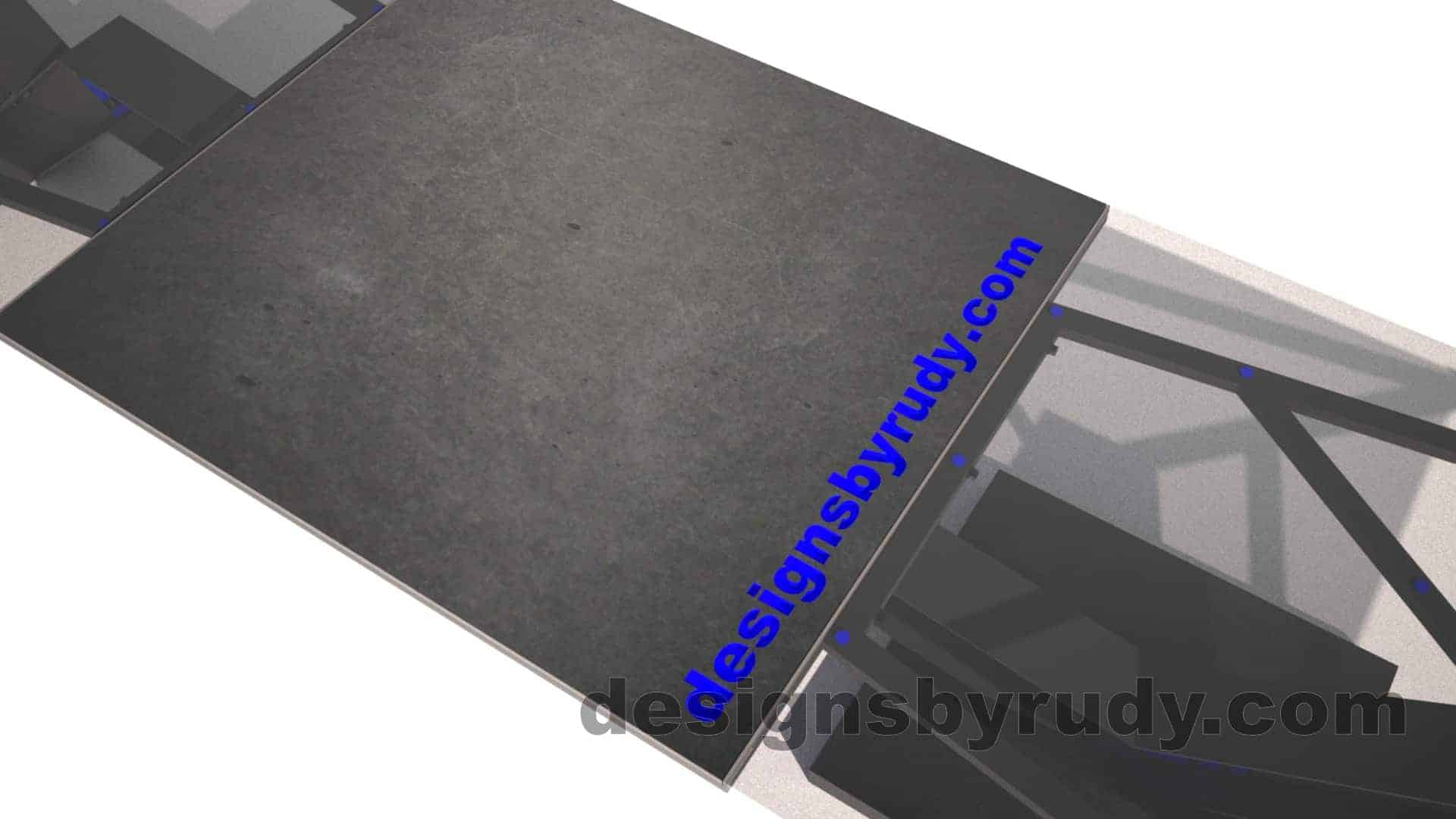 Concrete, steel, glass conference table modern design, top center concrete section closeup view