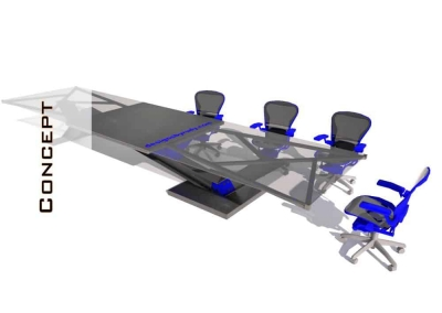 Glass Top, Concrete Base, Steel Frame Conference Table Design