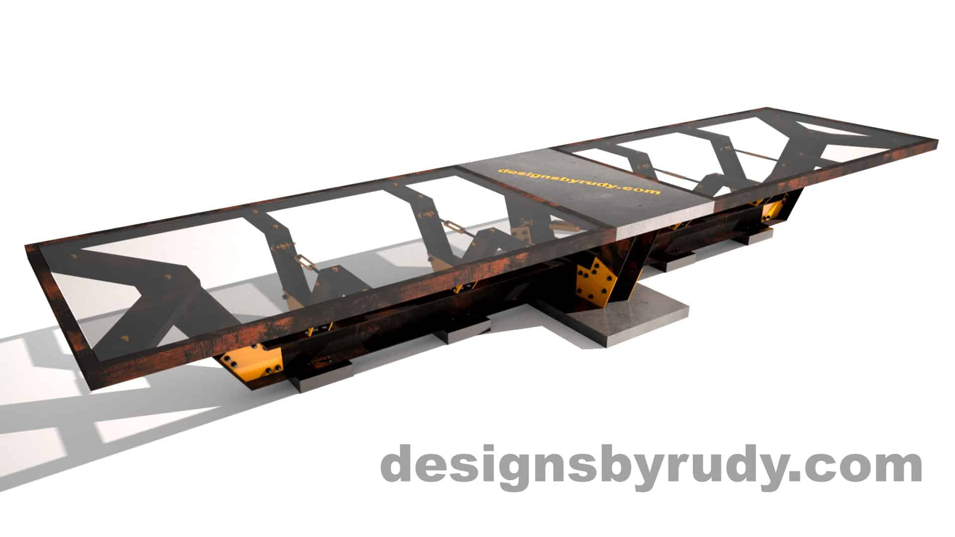Glass, steel, concrete conference table design by Designs by Rudy 1