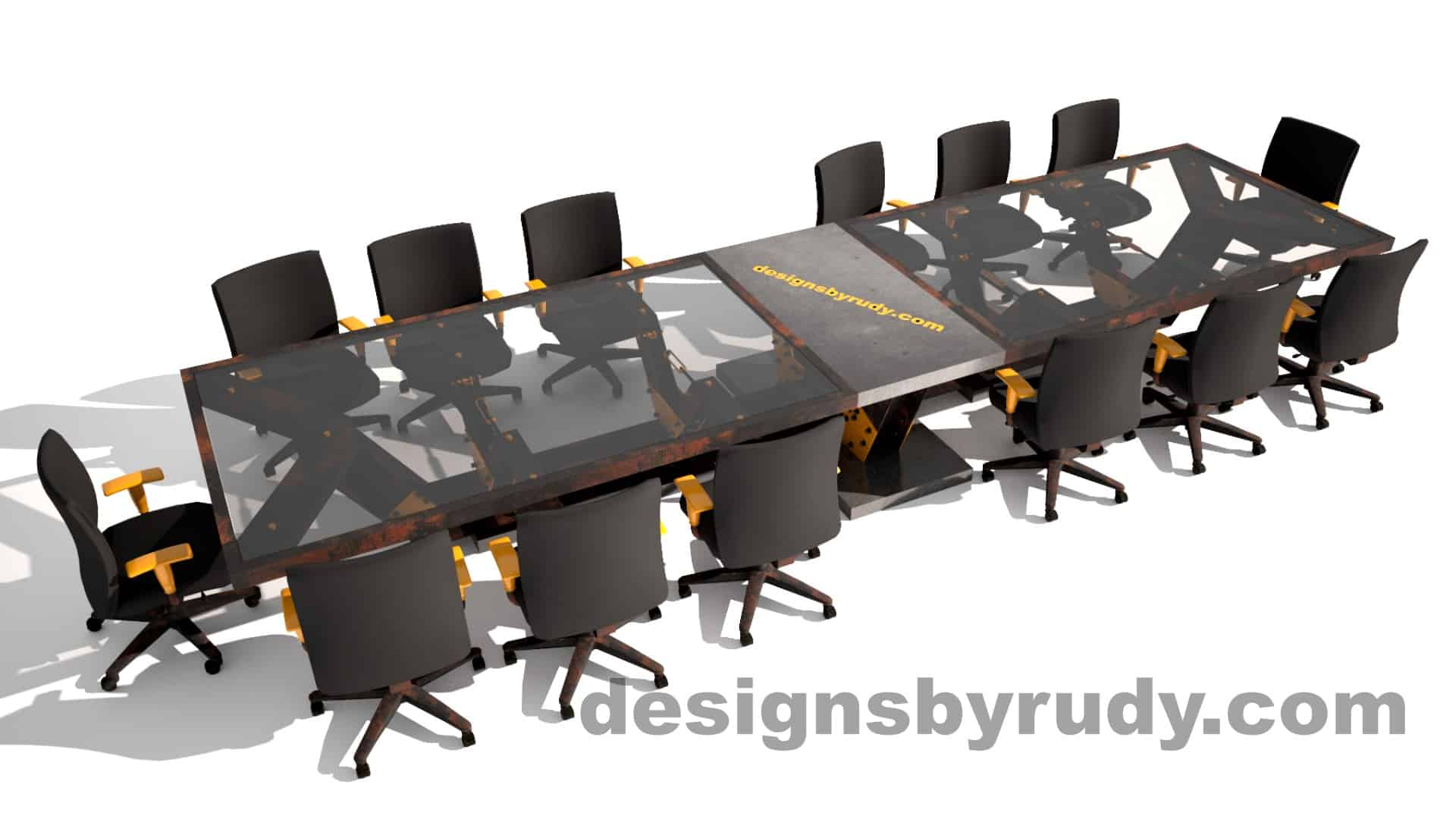 Glass, steel, concrete conference table design by Designs by Rudy 11