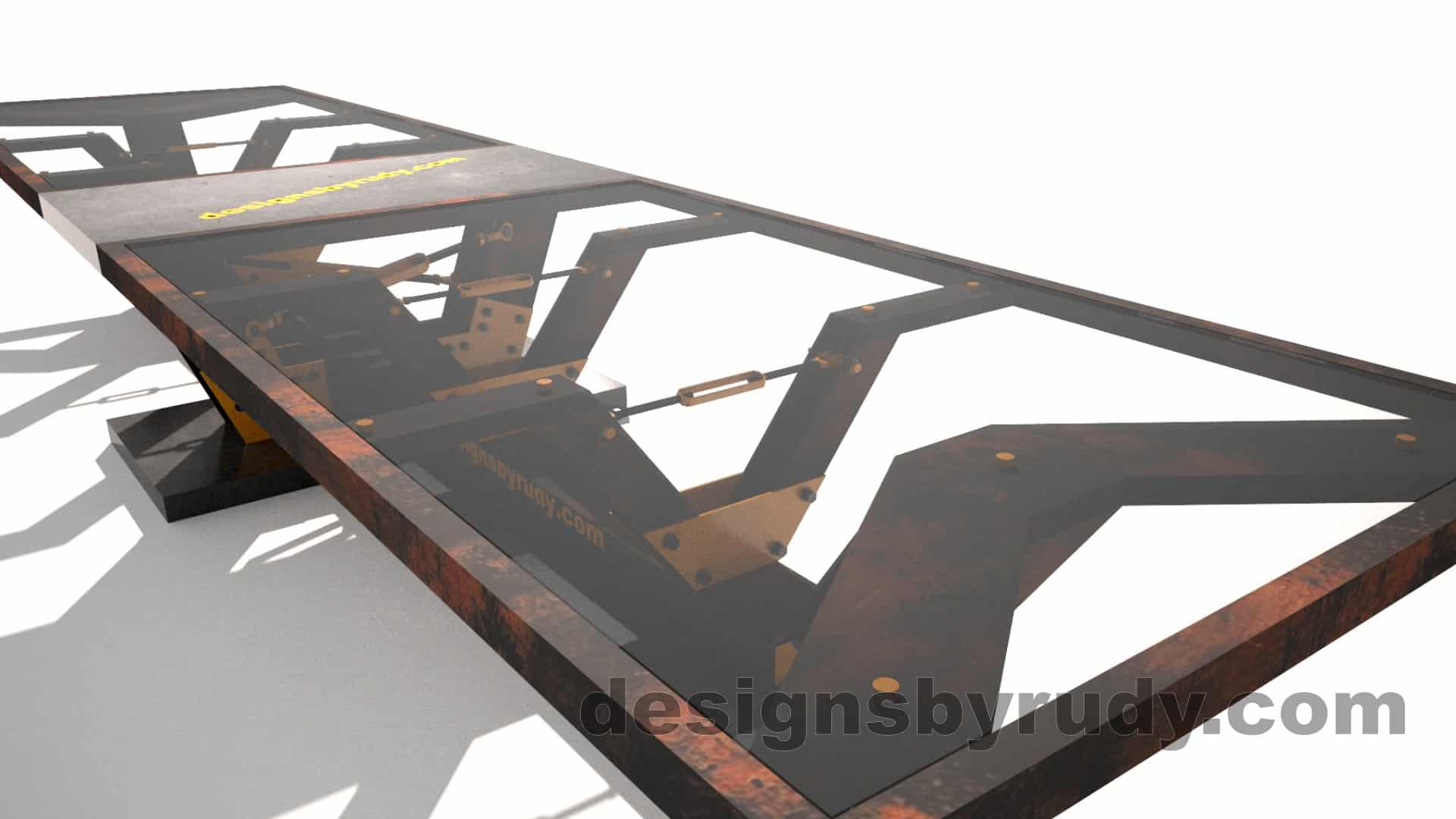 Glass, steel, concrete conference table design by Designs by Rudy 12