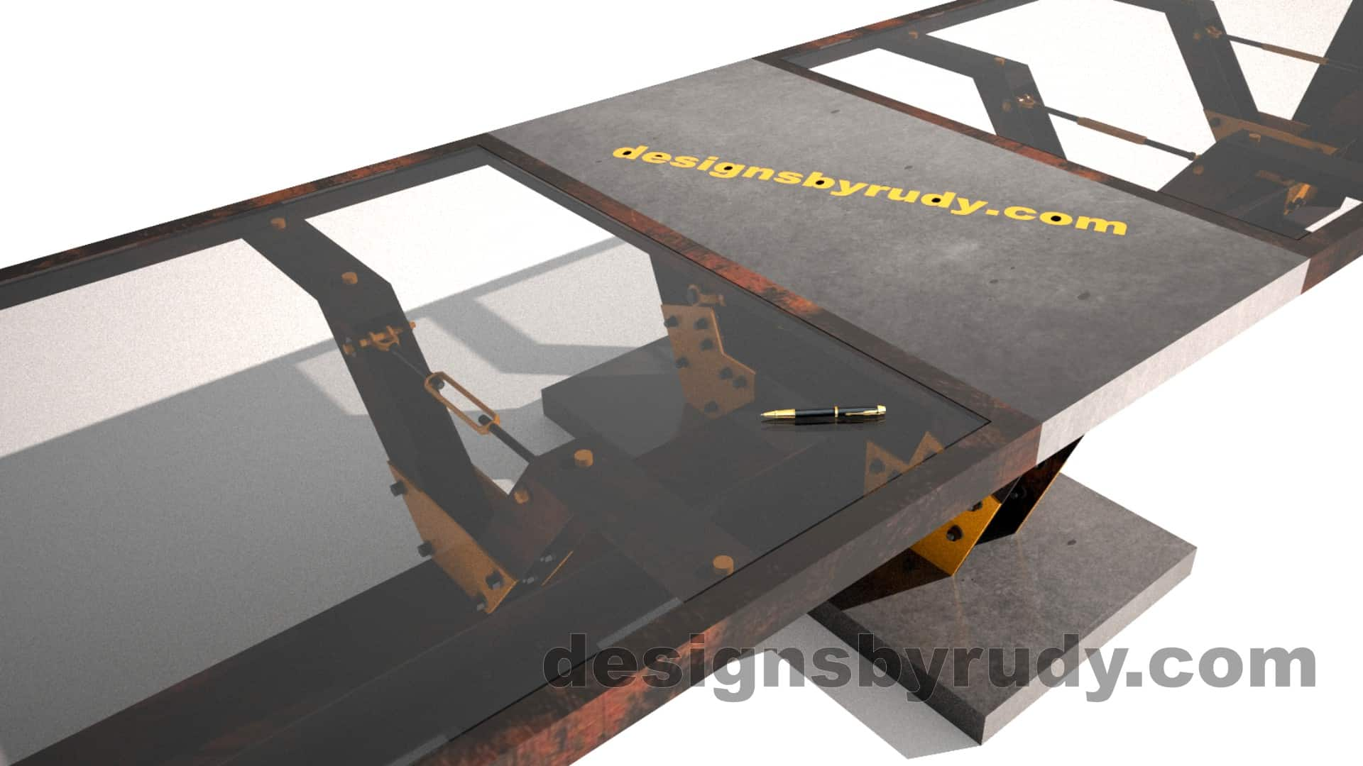 Glass, steel, concrete conference table design by Designs by Rudy 13
