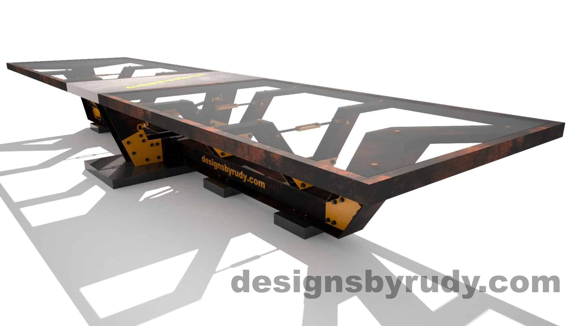 Glass, steel, concrete conference table design by Designs by Rudy 2