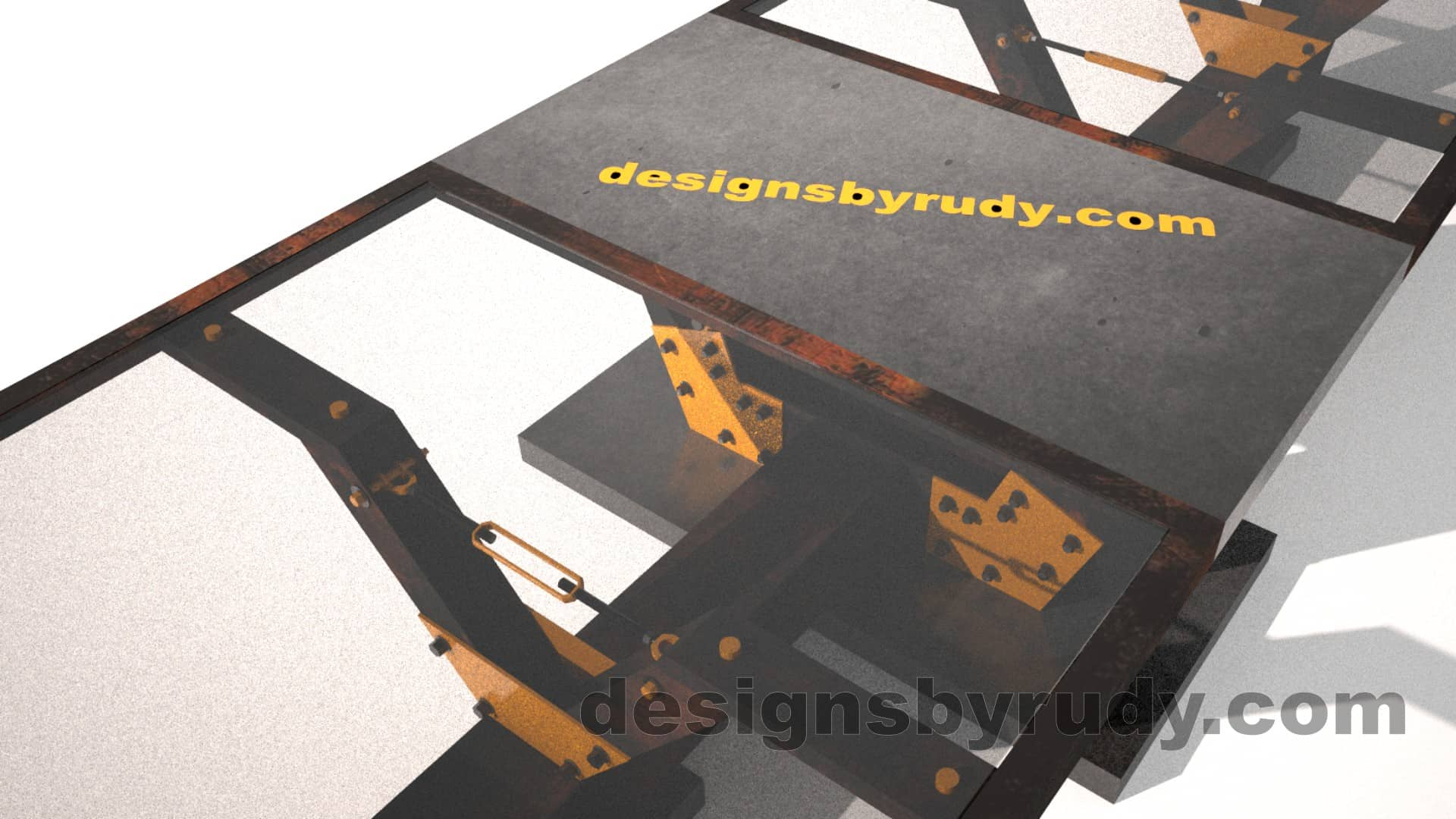 Glass, steel, concrete conference table design by Designs by Rudy 4