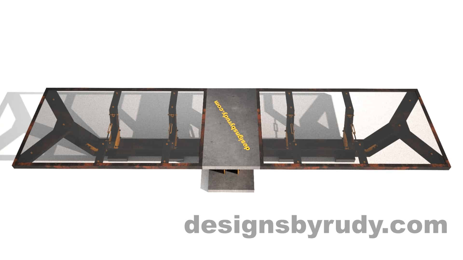 Glass, steel, concrete conference table design by Designs by Rudy 5