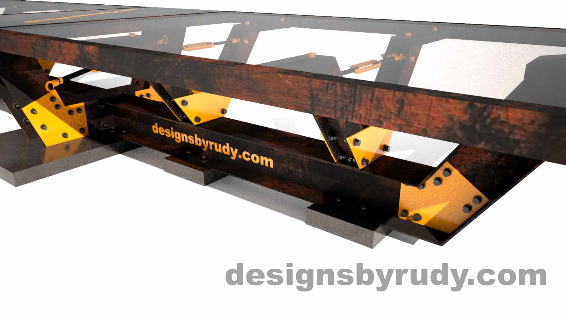 Glass, steel, concrete conference table design by Designs by Rudy 6