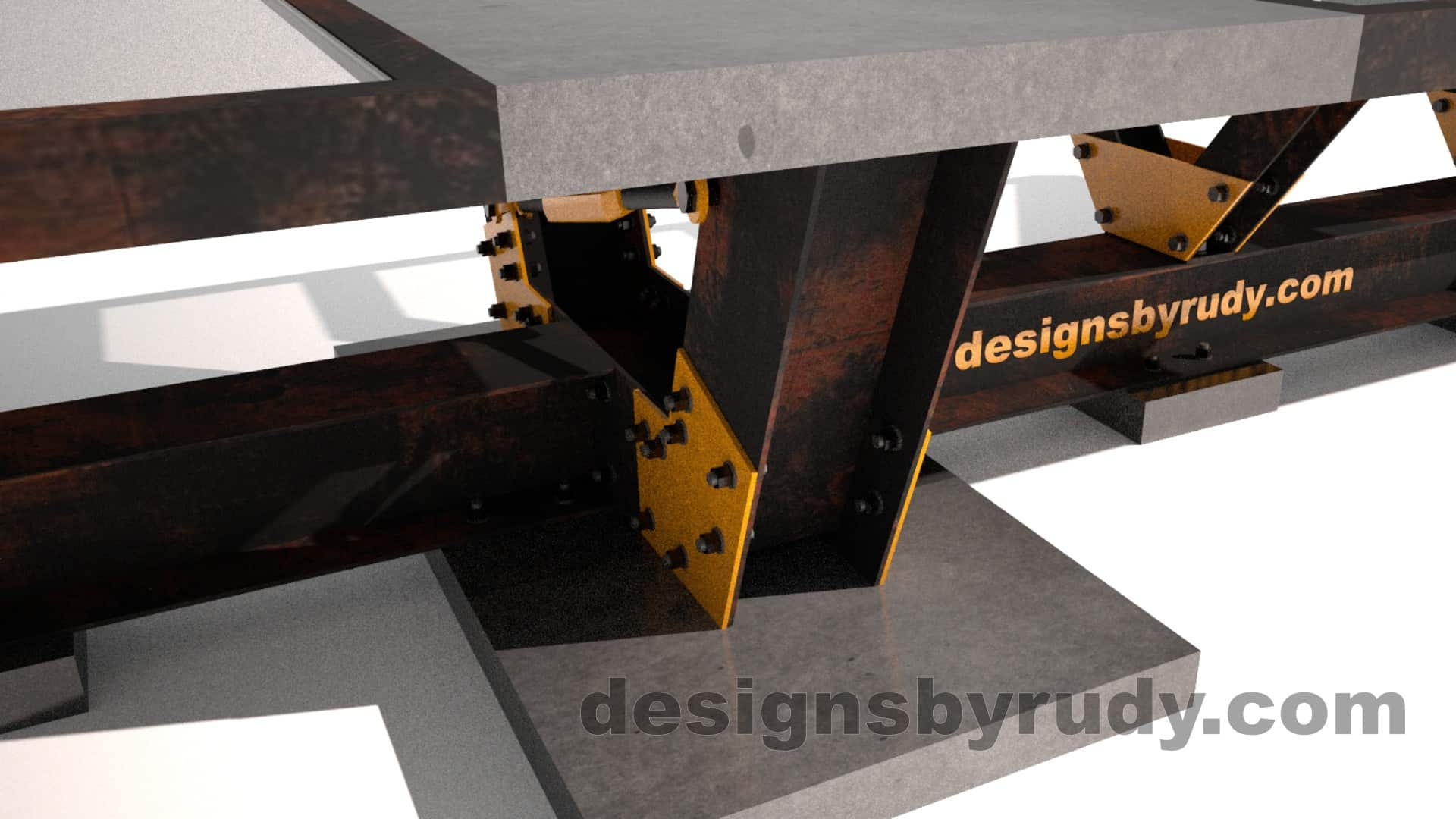 Glass, steel, concrete conference table design by Designs by Rudy 9