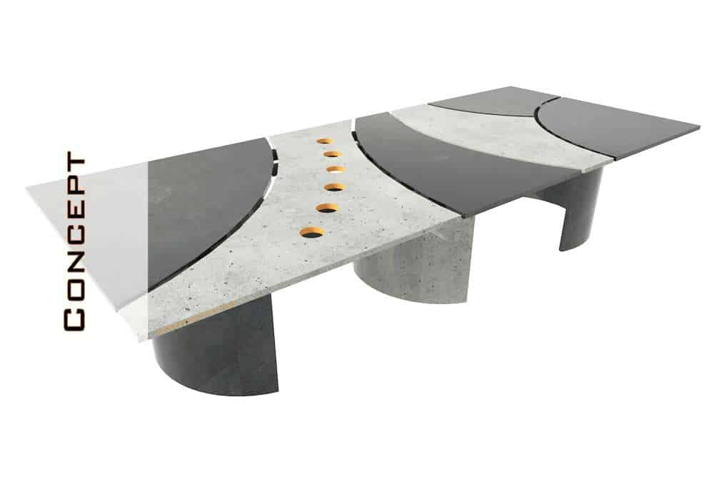 Concrete Conference Table, Circle Design, Geometric Series