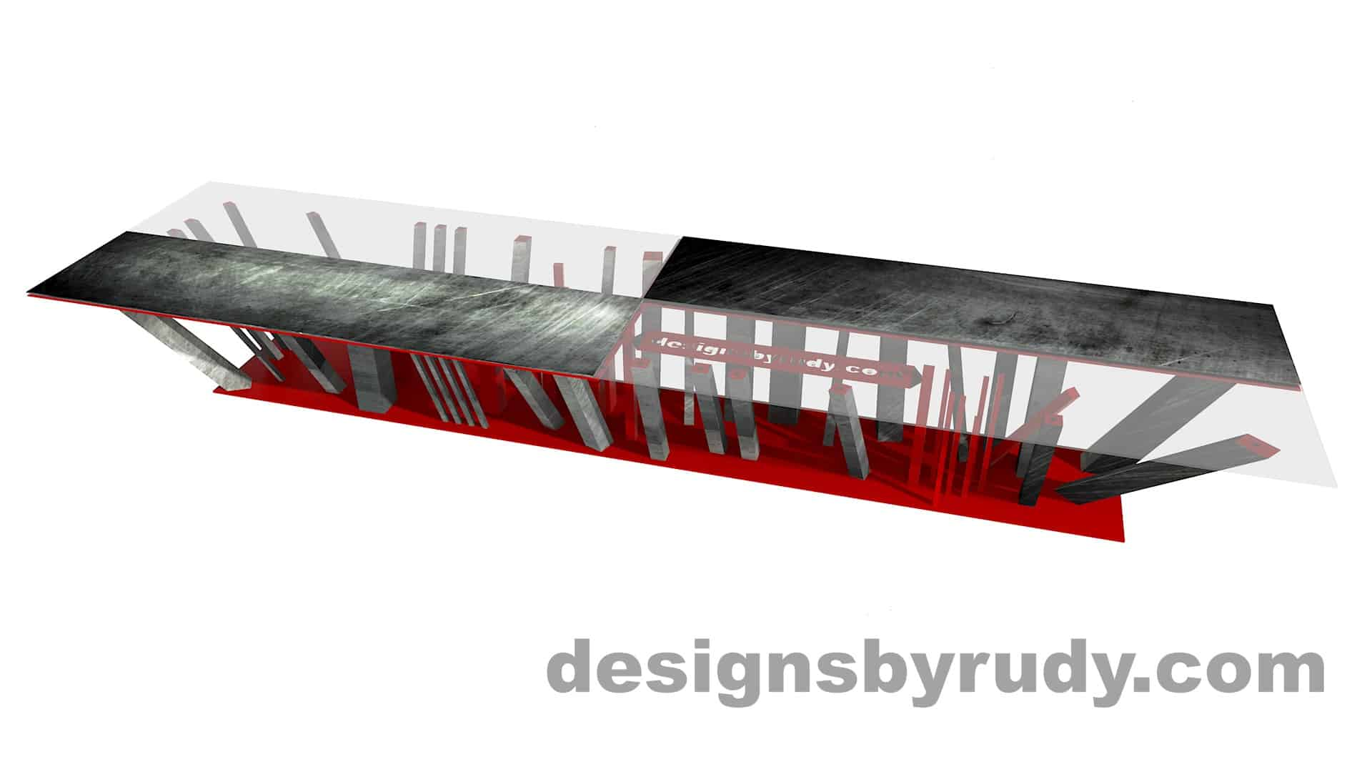 Custom conference table, steel base, glass and steel top, design and fabrication by designs by rudy