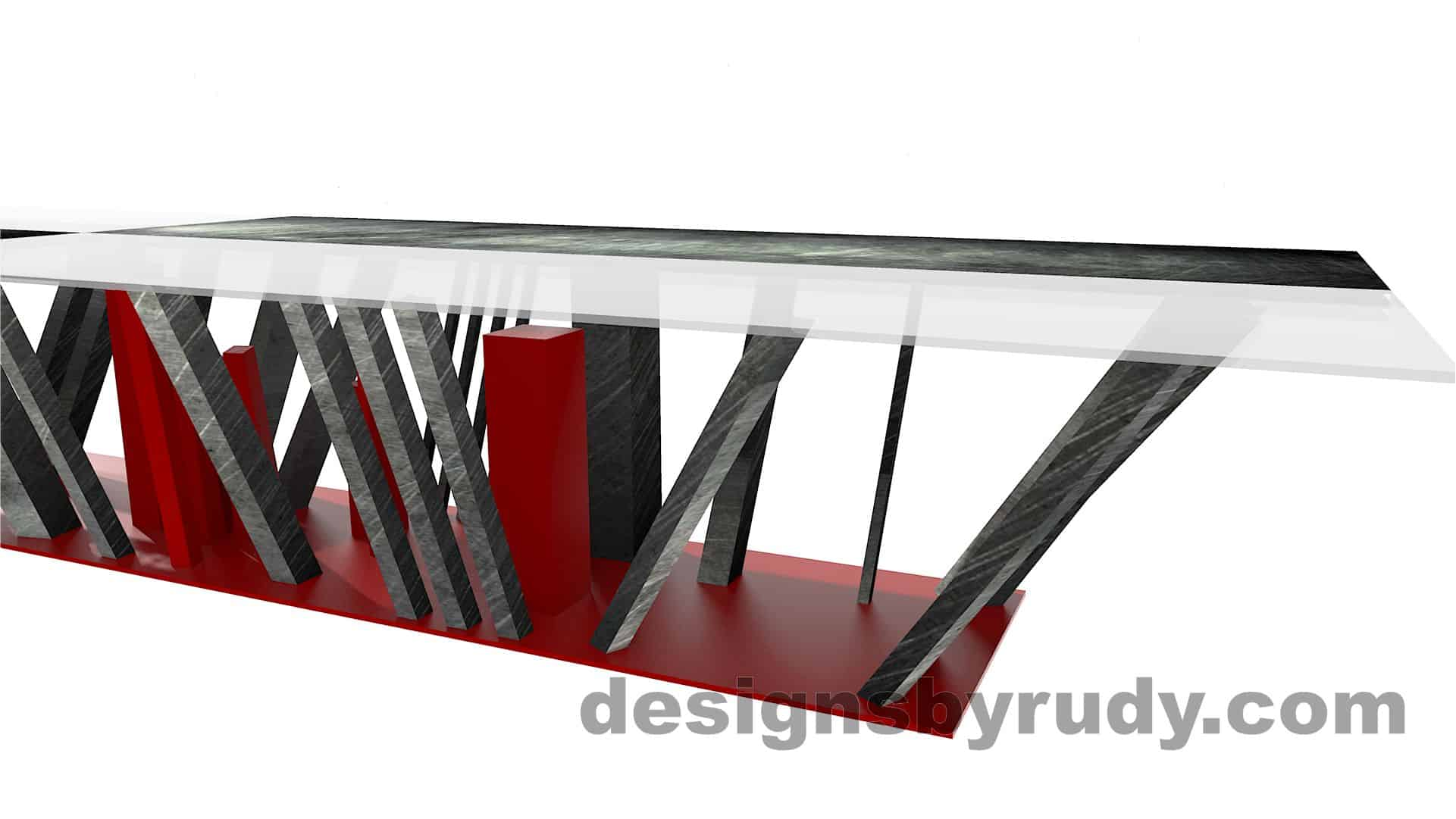 Custom conference table, steel base, glass and steel top, side-end section view, by designs by rudy