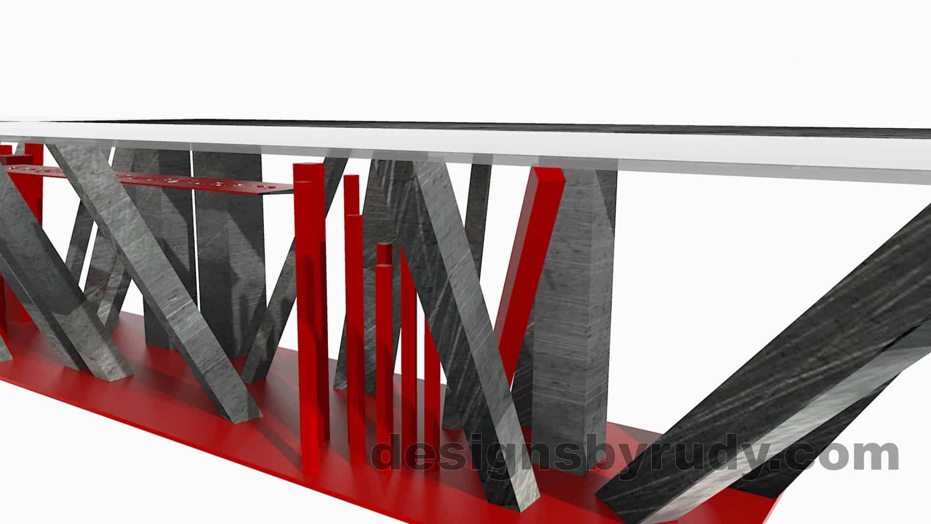 Custom conference table, steel base, glass and steel top, side-second end view, by designs by rudy