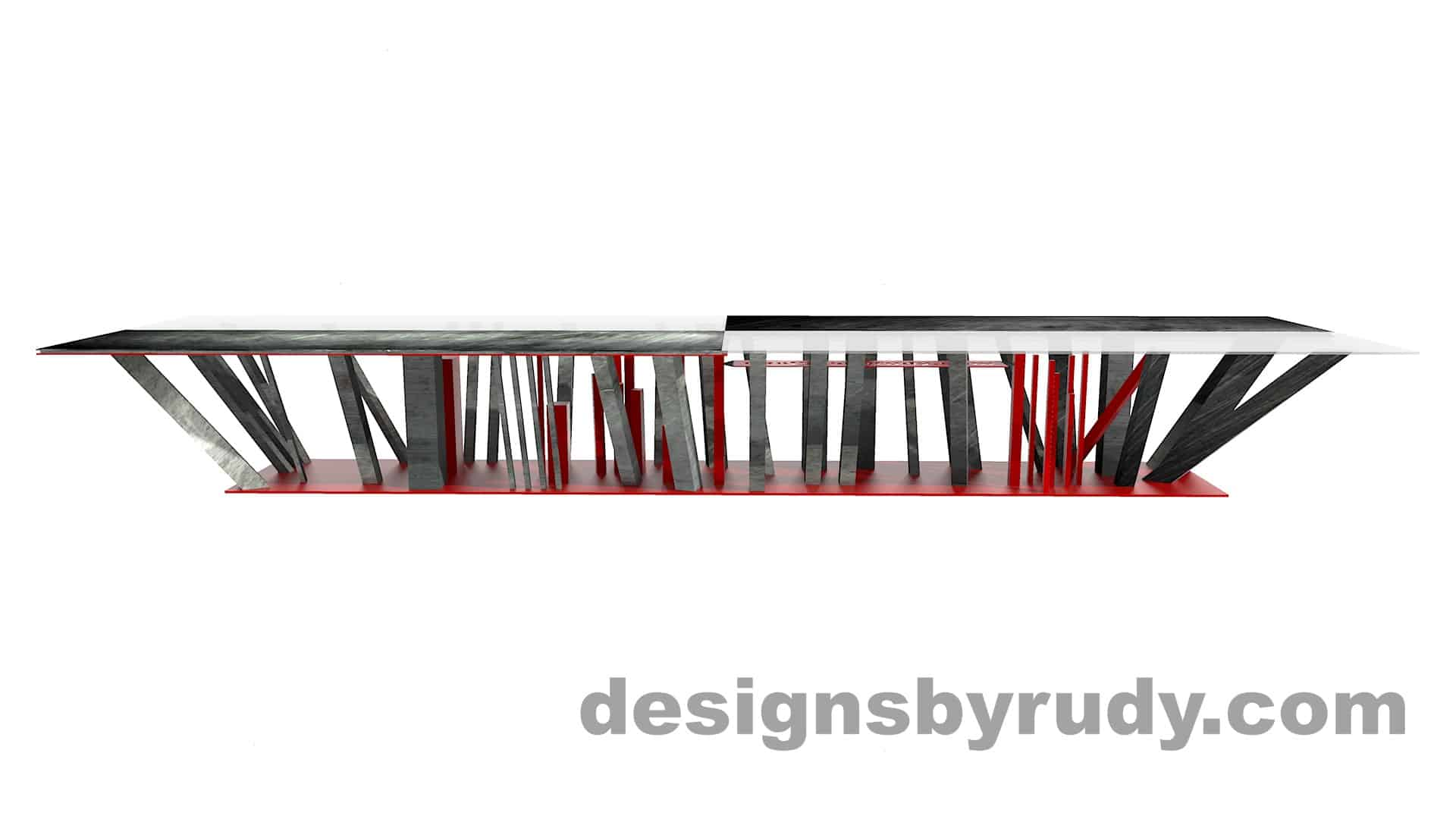 Custom conference table, steel base, glass and steel top, side view, by designs by rudy