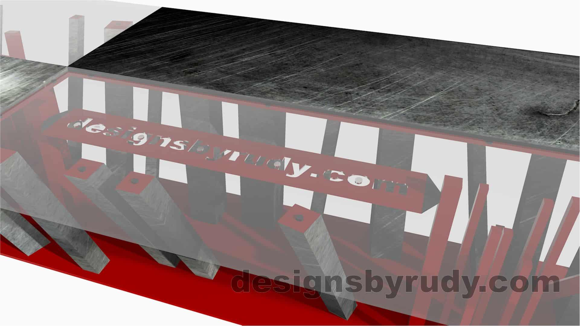 Custom conference table, steel base, glass and steel top, top logo closeup, by designs by rudy