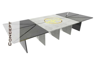 Concrete Conference Table, Mixed Design, Geometric Series