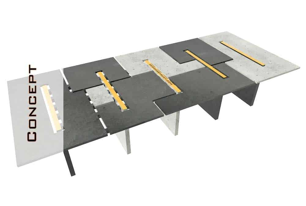 Concrete Conference Table, Modular Design, Geometric Series
