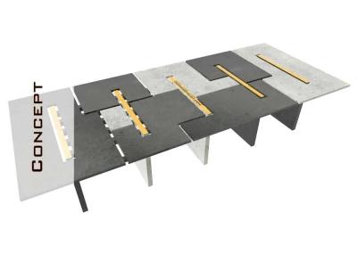 Concrete Conference Table, Modular Design, Geometric Series