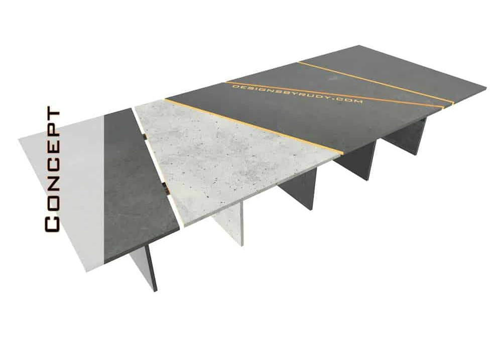 Concrete Conference Table, Sliced Design, Geometric Series