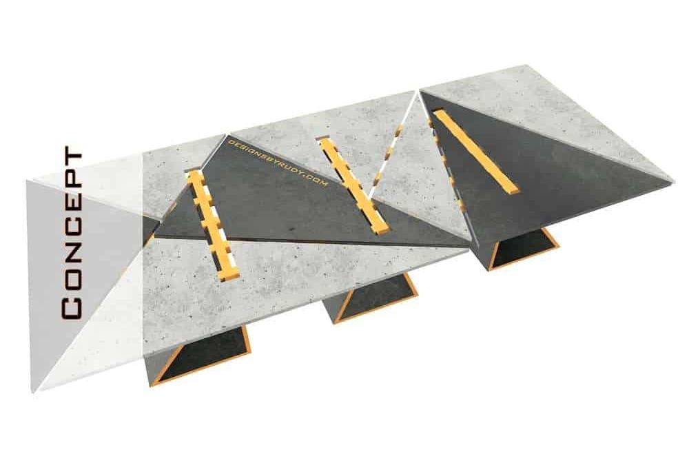 Concrete Conference Table, Triangle Design, Geometric Series